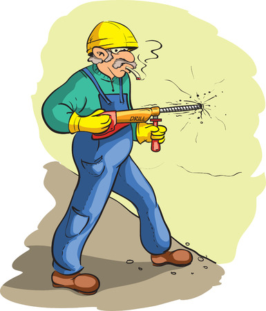 cigar smoking man: Construction worker Illustration