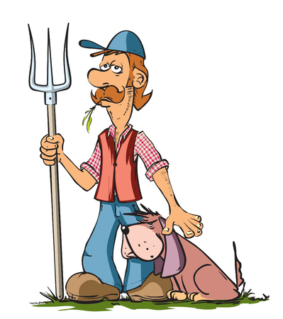 villager: Funny farmer and his dog Illustration