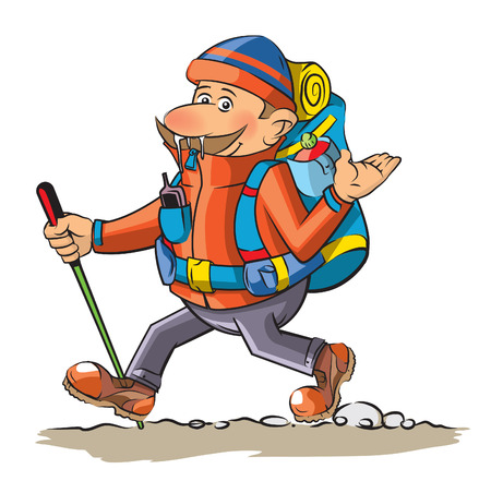 Funny hiker 向量圖像