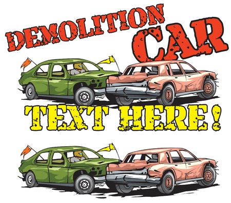 Demolition car derby icon design
