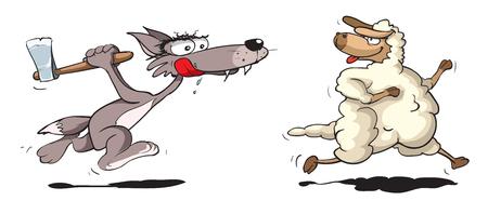 Wolf chasing sheep Illustration