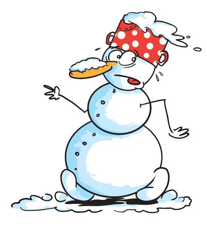 carefully: Snowman walking carefully Illustration