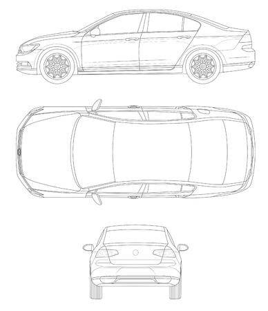Outline car template - passat Illusztráció
