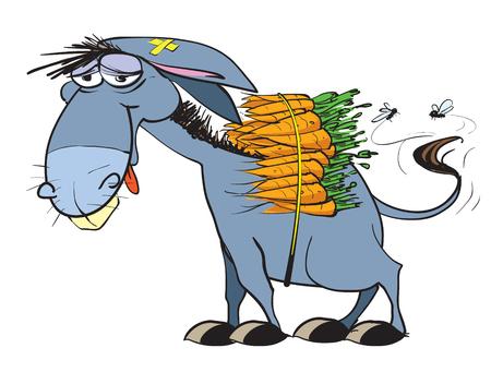 carga: Burro con carga de zanahorias Vectores