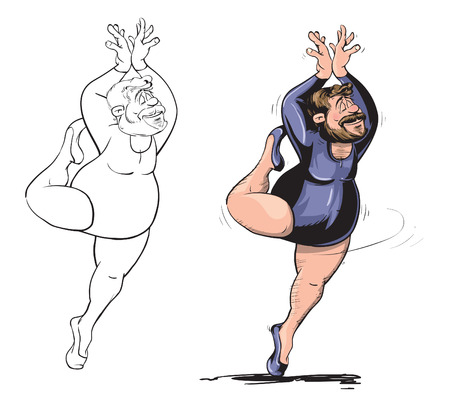 Funny fat man performing ballerina dance Иллюстрация