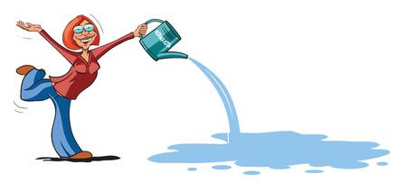 Funny girl watering