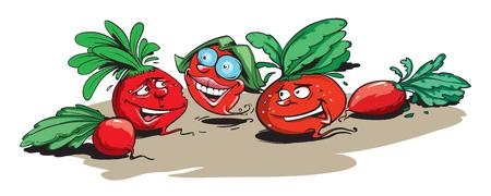 Funny radishes Ilustrace