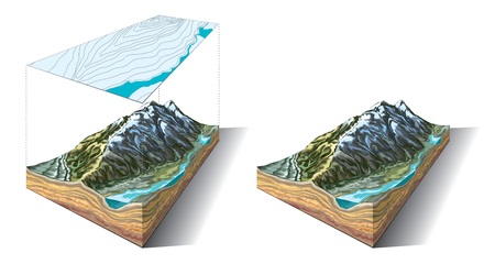 Isometric slice of Earths relief