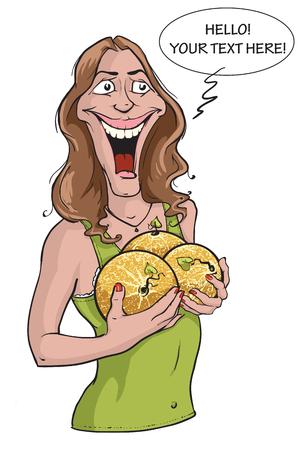 Girl holding melons. Illusztráció