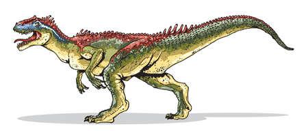 Cartoon style illustration shows Allosaurus - mesozoic reptail. 向量圖像