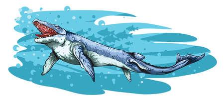 Illustration of Basilosaurus large, predatory, prehistoric whale.