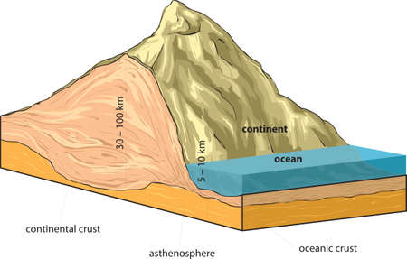 Vector illustration shows continental and oceanic crust. 向量圖像