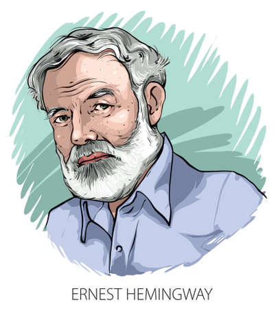 Cartoon style illustration of famous American writer Ernest Hemingway. Ilustração