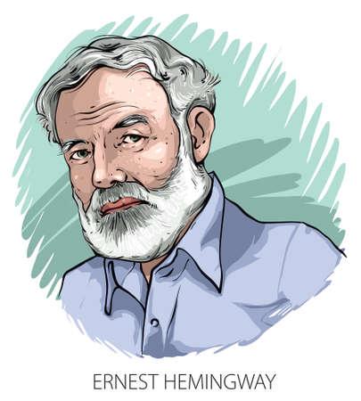 Cartoon style illustration of famous American writer Ernest Hemingway. Illustration