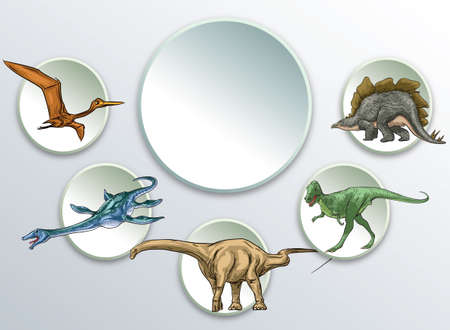 Dinosaur concept design template for presentation and education.