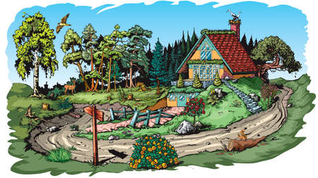Cartoon stzle illustration shows dream house in mountains.