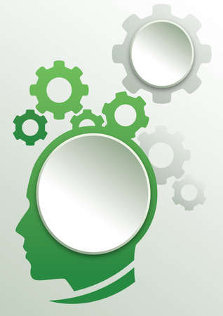 Human head process template design for presentation and graphic design.
