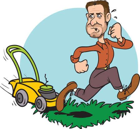 Vector illustration of a funny gardener running away from a crazy grass cutter. Ilustração