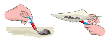 An illustration showing an experiment with a magnet and metal sawdust.