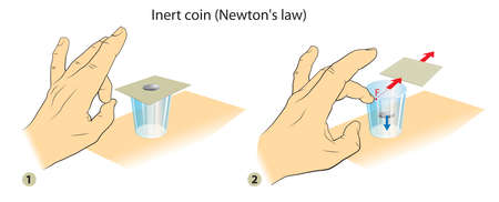 Illustration shows simple science experiment: Newton's First Law Of Motion. 向量圖像