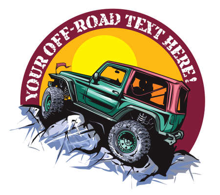 Cartoon style off-road vehicle suitable for logo design. Illustration