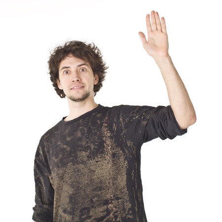 Portrait of man waving his hand