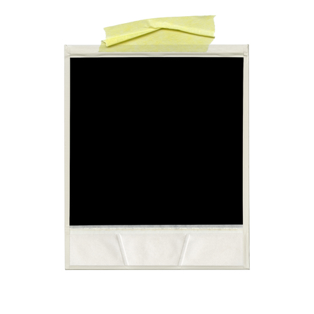 XXXL Ð blank polaroid photo. Isolated vintage frame with yellow tape