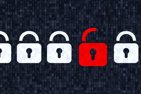 Cyber ??security concept: padlocks on digital background Stock Photo