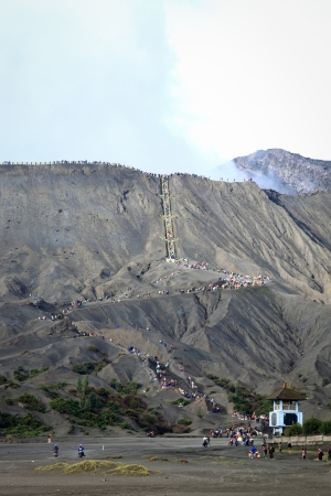 Mt.Bromo Paradise of trekking.  Hindo temple near Mt. Bromo, East Java Indonesia. photo