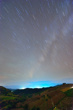star trail: Star trail and step rice in dark night.