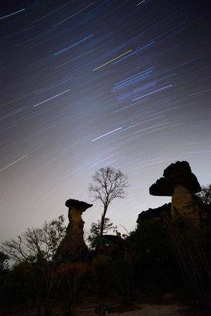 star trail: Star trail and Stone henge  Star trail and Stone henge Thailand in dark night.