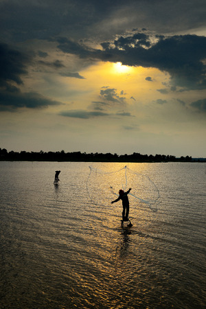 sow: Sow fishing nets countryside in Thailand. Stock Photo