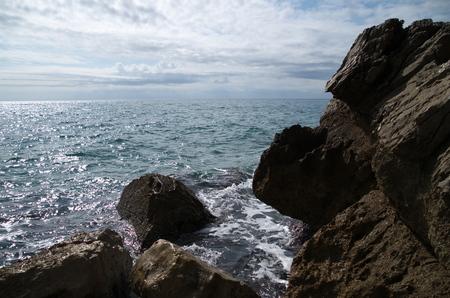 lazio: Rocks and sea  Stock Photo