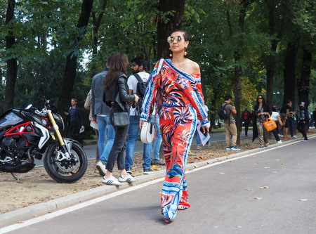 SEPTEMBER 22, 2016: A Fashionable Girl Before EMILIO PUCCI Fashion Show, Milan Fashion Week Spring  Summer 2017