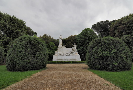 Monument to Petrarch in the park, from Arezzo, Italy