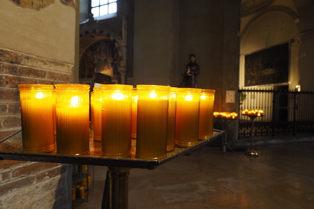 Tealight candles in a church