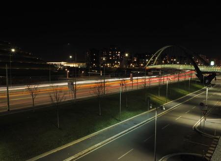 Night cityscape of Portello new modern area in Milan, Lombardy, Italy. Stock Photo