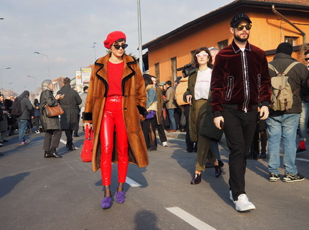 MILAN - JANUARY 14: ELEONORA CARISI walking in the street before DSQUARED2 fashion show, during Milan Fashion Week Man fall  winter 201819 on January 14, 2018 in Milan. Editorial