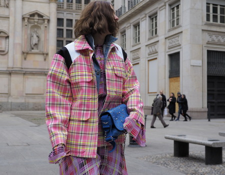 MILAN - FEBRUARY 25, 2018: Fashion blogger CANDELA PELIZZA posing for photographers in SAN FEDELE square before MSGM fashion show, during Milan Fashion Week Woman fall  winter 201819 in Milan, Italy