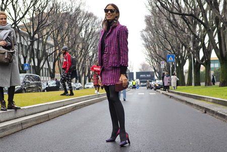 MILAN - FEBRUARY 25, 2018: Fashionable model posing for photographers in the street before the ARMANI fashion show, during Milan Fashion Week. Fall  winter 201819 in Milan, Italy. Editorial