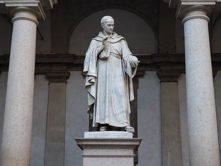 Statue of Bonaventura Cavalieri, Milan, Lombardy, Italy Editorial