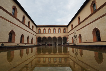 MILAN, ITALY - MAY 3, 2018: Milan (Lombardy, Italy): internal court of the medieval castle known as Sforza Castle (built at end of 15th century). Editorial