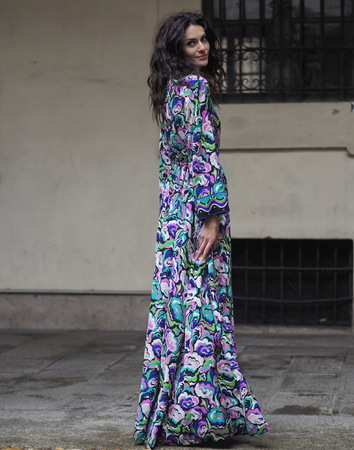 MILAN - FEBRUARY 22, 2018: Actress Paola Turani posing for photographers in Corso Magenta 24 before EMILIO PUCCI fashion show, Milan Fashion Week Woman fall  winter 201819 in Milan, Italy. Editorial