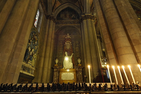 AREZZO, ITALY - May 21, 2016: Altar of Arezzo Cathedral dedicated to St. Donatus, sculpted in marble by Florentine, Aretine and Sienese artists of the 14th century.