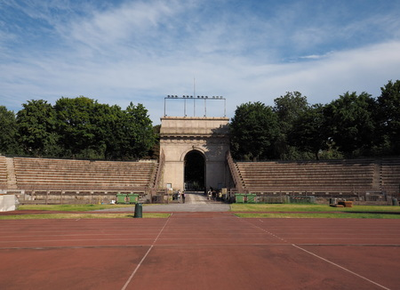 MILAN, ITALY, 5 July 2018. Arena Civica - multi-purpose stadium in Milan, Italy, which was opened in 1807. One of the city's main examples of neoclassical architecture. Lombardy, Italy.