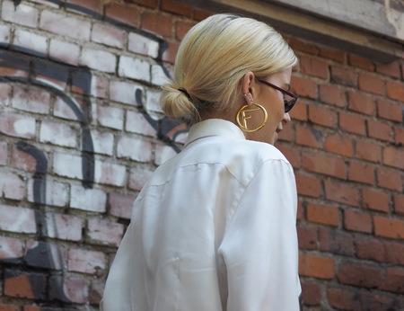 MILAN, ITALY -JUNE 18, 2018: Caroline Daur walking in the street before FENDI fashion show, during Milan Fashion Week Men and women spring collections.