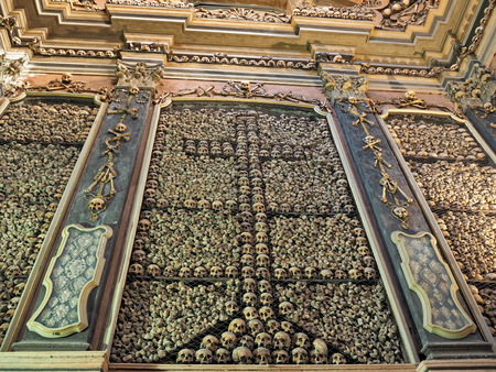 MILAN, LOMBARDIA, ITALY - September 4, 2018: San Bernardino alle Ossa is a church in Milan, known for its ossuary, decorated with human skulls and bones