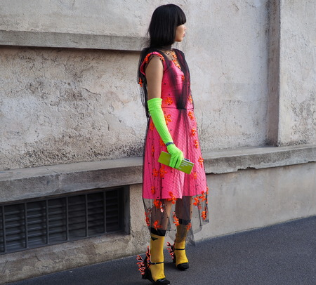 Milan, Italy: 20 September 2018. Woman in the street style outfit before the PRADA fashion show, during Milan fashion week fall winter 20182019