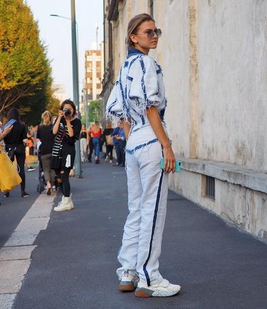 Milan, Italy: 20 September 2018. Stylist posing in the street before the PRADA fashion show, during Milan fashion week fall winter 20182019
