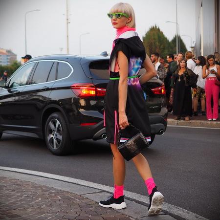 MILAN, Italy: September 20, 2018: Streetstyle outfits after PRADA fashion show during Milan Fashion week Fall winter 20182019